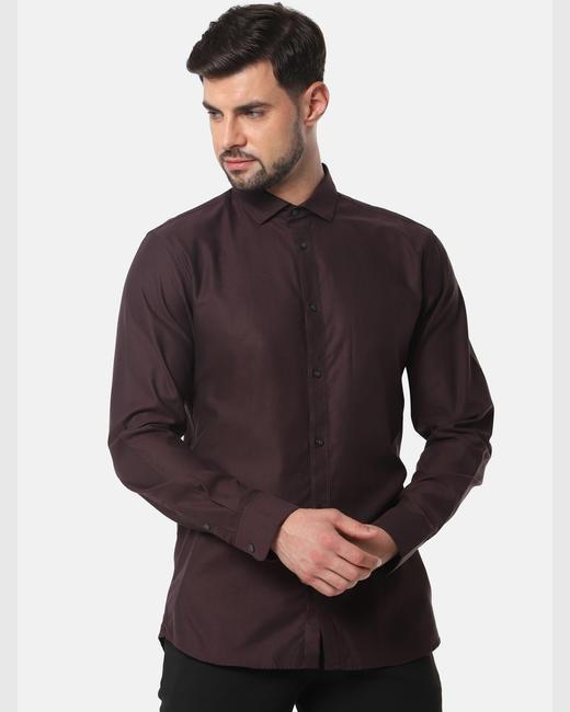 Burgundy Full Sleeves Shirt