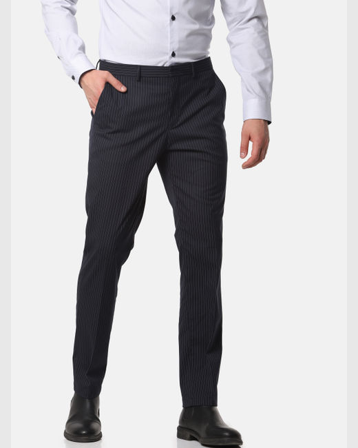 Navy Blue Striped Slim Fit Trousers