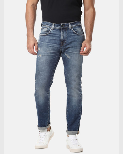 Blue Mildly Distressed Leon Slim Fit Jeans