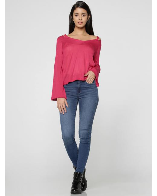 Pink V-Neck Flared Sleeves Pullover