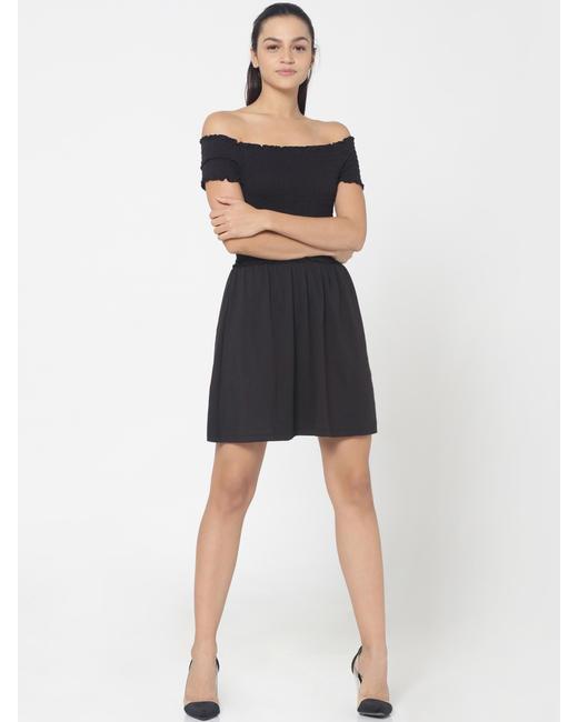 Black Smock Off Shoulder Fit & Flare Dress