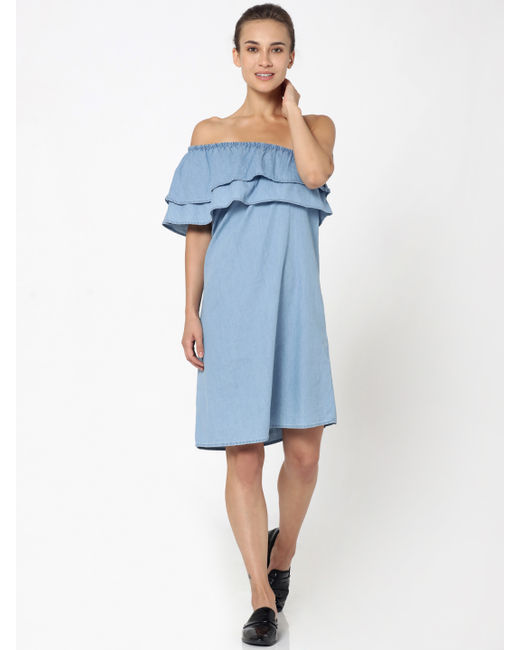 Blue One Shoulder Denim Dress