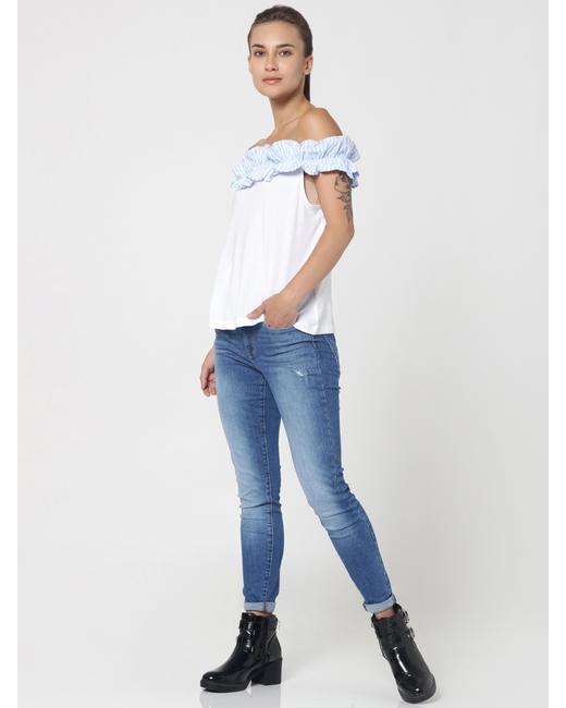 White Off Shoulder T-Shirt