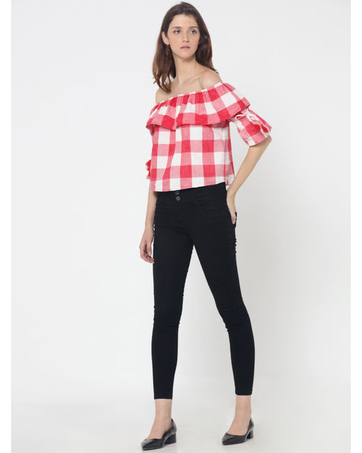Coral Buffalo Checks Off Shoulder Top