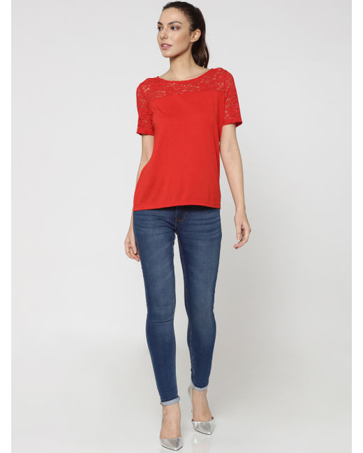 Red Lace Detail Top
