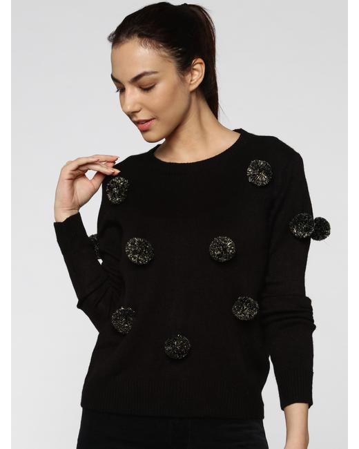 Black Glitter Pom Pom Pullover