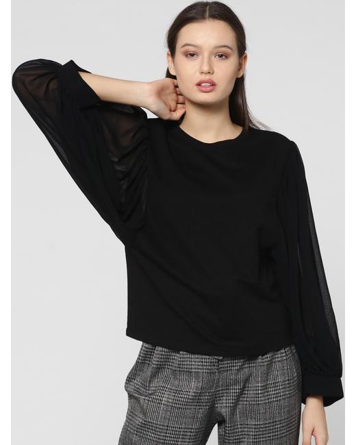 Black Sheer Sleeves Sweatshirt