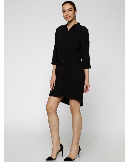 Black Striped Shirt Dress