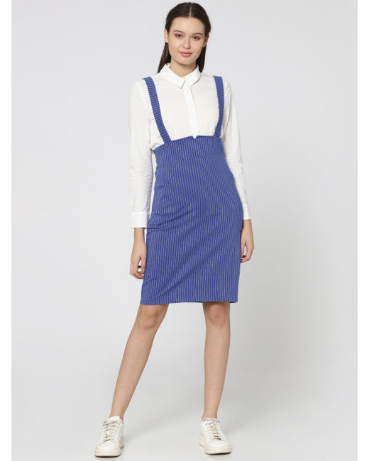 Blue Striped Dungaree Dress