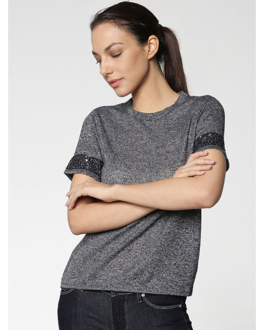 Blue Embellished Sleeves T-shirt