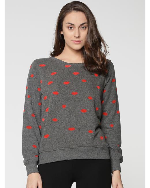 Grey All Over Lip Print Sweatshirt