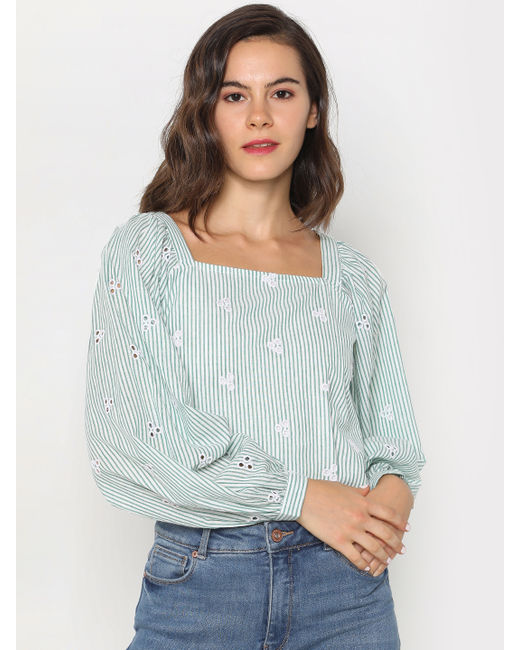 Green Striped Embroidered Top
