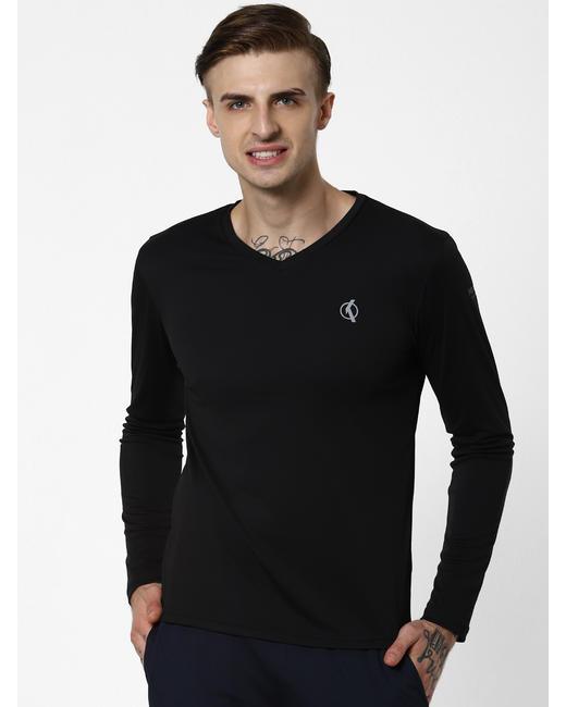 Black Logo Print V Neck T-Shirt