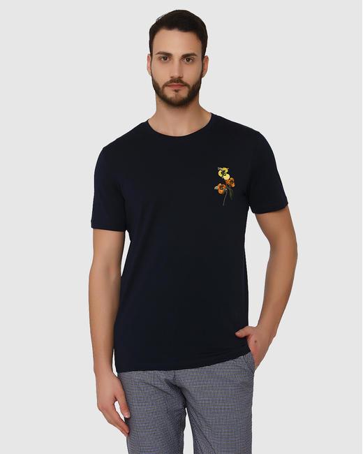 Dark Blue Floral Print Crew Neck T-Shirt