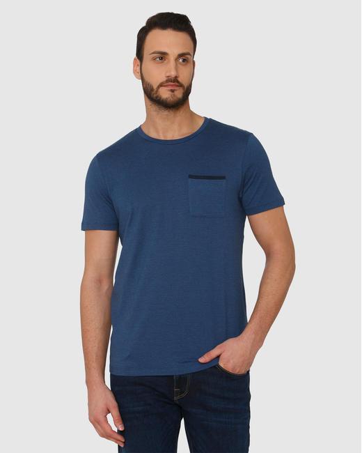 Blue Front Chest Pocket Crew Neck T-Shirt