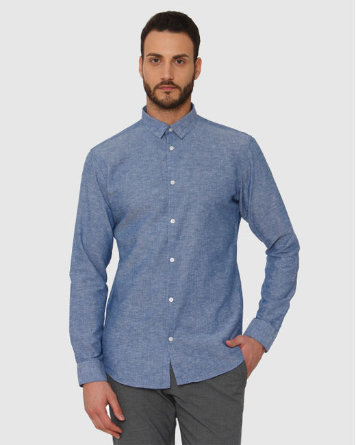 Blue Faded Linen Slim Fit Full Sleeves Shirt