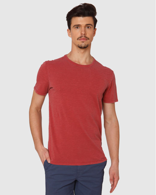 Red Dyed Crew Neck T-Shirt