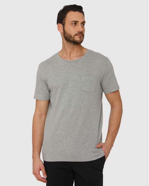 Grey Front Chest Pocket Crew Neck T-Shirt