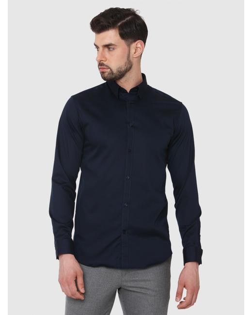 Navy Blue Formal Full Sleeves Shirt