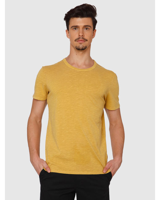 Yellow Dyed Crew Neck T-Shirt