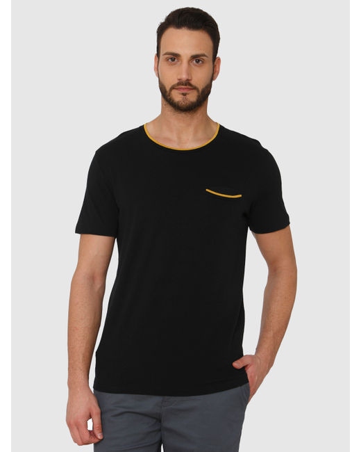 Black Contrast Tipping Front Pocket Crew Neck T-Shirt
