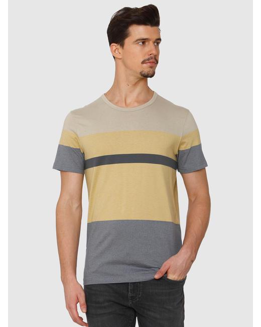 Yellow Colour Blocked Crew Neck T-Shirt