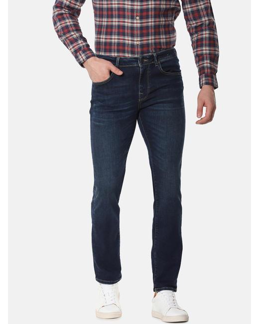 Blue Mid Rise Leon Slim Fit Jeans