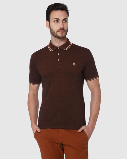 Brown Contrast Tipping Slim Fit Polo Neck T-Shirt
