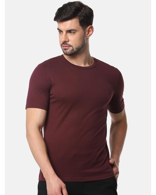 Burgundy Slim Fit Crew Neck T-Shirt