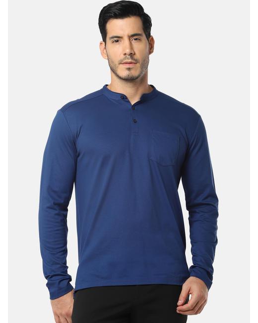 Blue Henley Neck T-Shirt