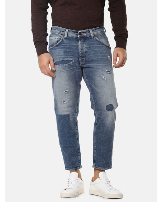 Blue Ripped Aldo Relaxed Cropped Fit Jeans