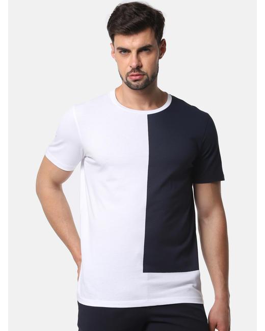 Navy Blue Colourblocked Crew Neck T-Shirt