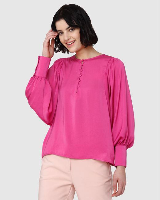 Pink Lantern Sleeves Satin Top