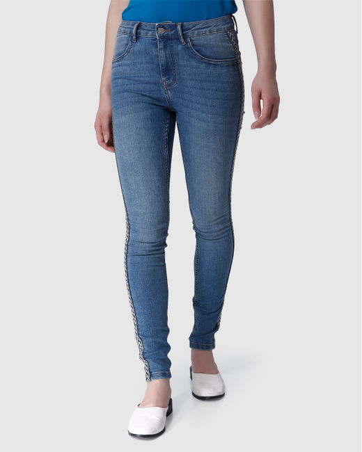 Blue High Waist Tape Detail Skinny Fit Jeans