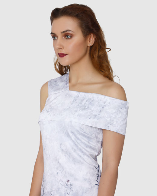 White Floral Printed Sleeveless Mini Dress