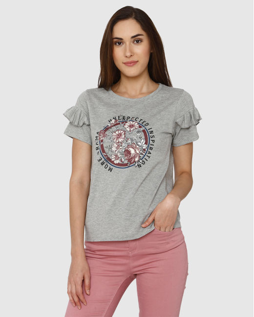 Grey Graphic and Text Print T-Shirt