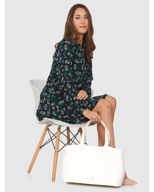 Black All Over Floral Print Shift Dress