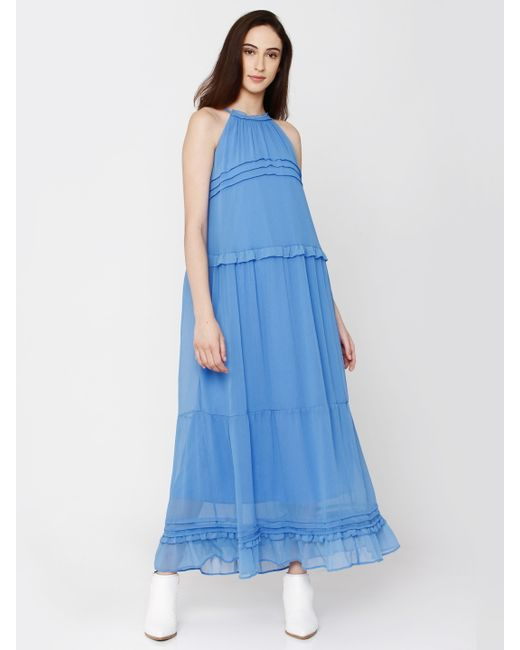 Blue Ruffle Detail Maxi Dress