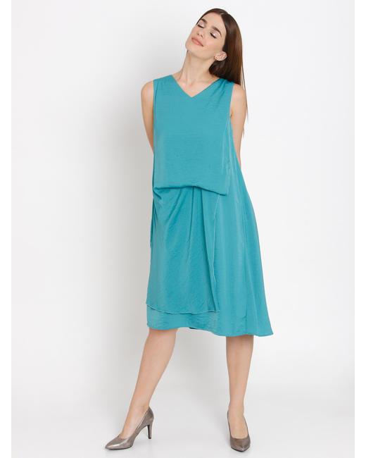 Blue Draped Shift Dress