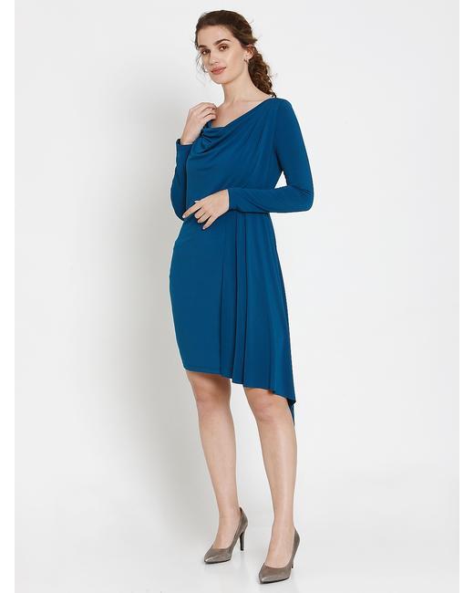 Blue Asymmetric Ruffle Hem Fit & Flare Dress