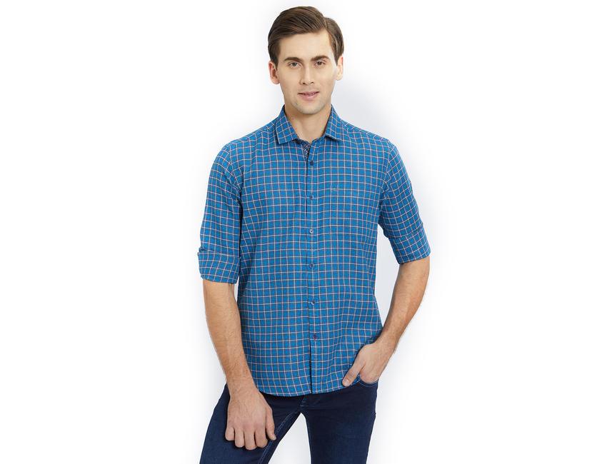 Checkered Blue Color Cotton Slim Fit Shirt
