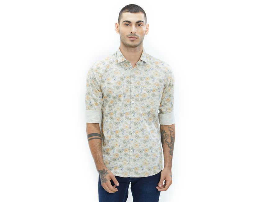 Printed Yellow Color Cotton Slim Fit Shirt