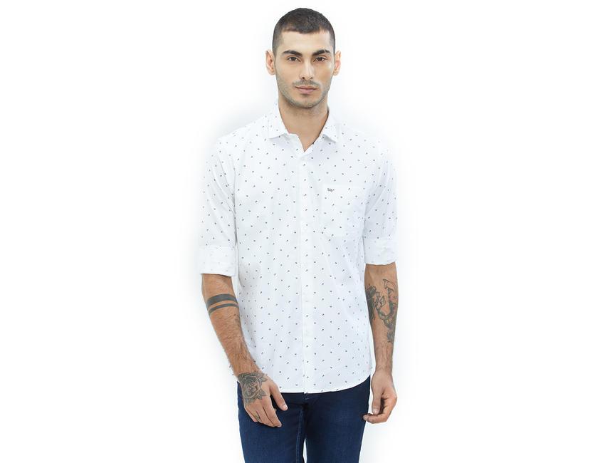 Printed White Color Cotton Slim Fit Shirt