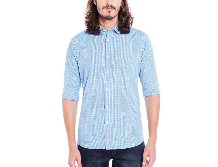 Checkered Blue Color Cotton Slim Fit Shirt