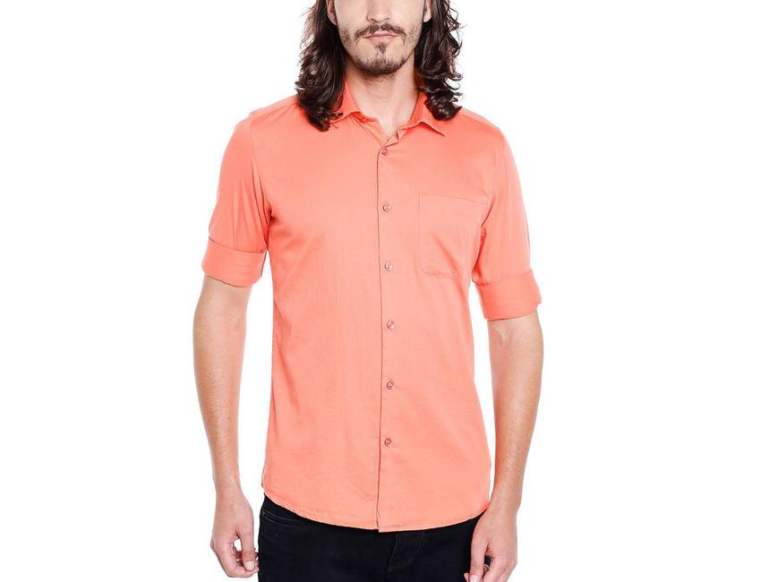 Solid Orange Color Cotton Slim Fit Shirt