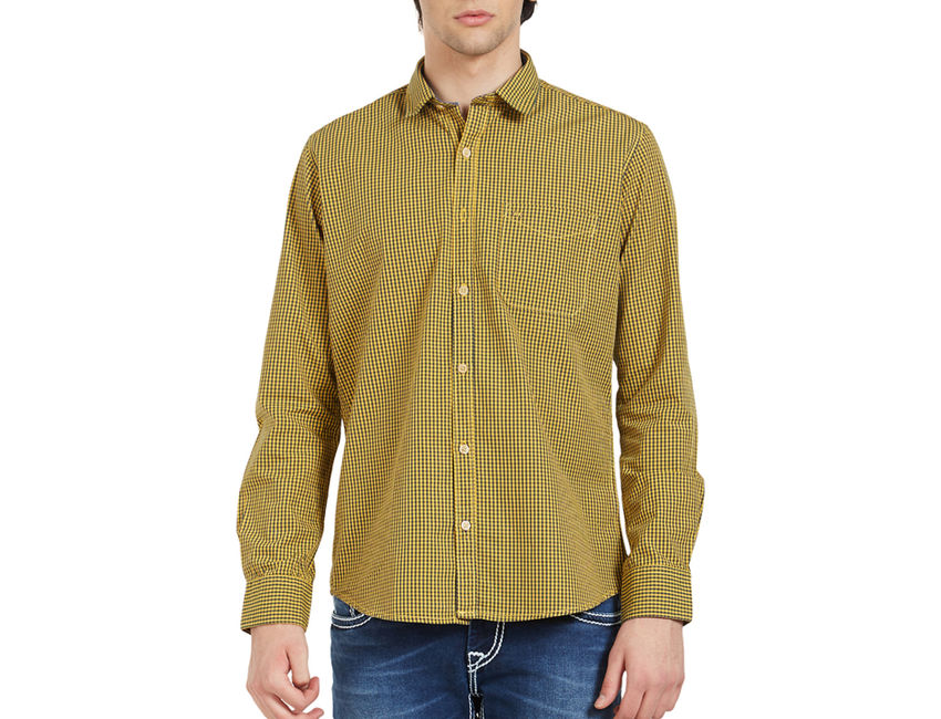 Checkered Yellow Color Cotton Slim Fit Shirt
