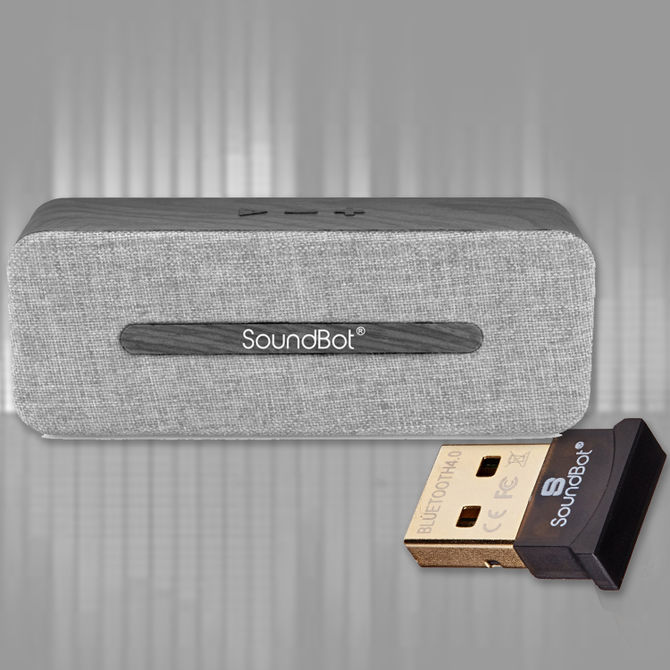 Sb574 Hd Bluetooth Wireless Speaker With Soundbot Sb340 Bluetooth Adapter (Black)