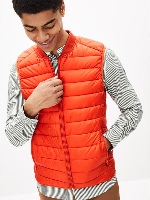 Orange Solid Straight Fit Bomber Jacket