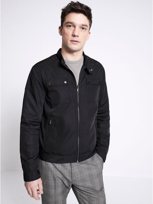 Navy Solid Bomber Jacket