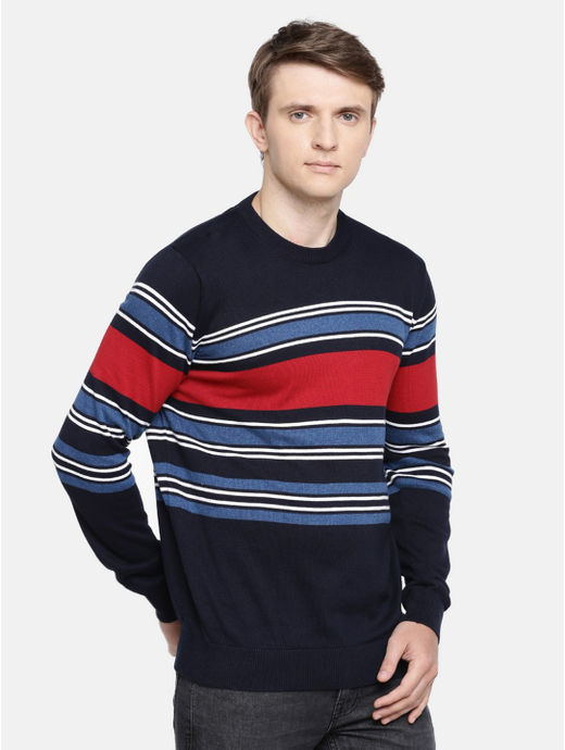 Blue Striped Straight Fit Sweater